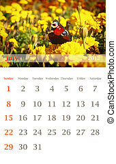 calendar 2012, July - Page of 2012 July month wall calendar...