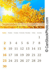 calendar 2012, September - Page of 2012 September month wall...