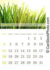calendar 2012, March - Page of 2012 March month wall...