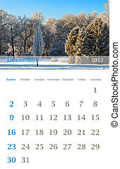 calendar 2012, December - Page of 2012 December month wall...