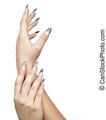 manicure - Womans hand with manicure on white background