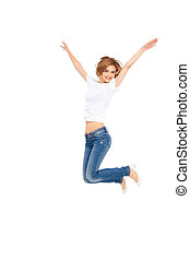 young woman jumping - young casual woman jumping exited with...