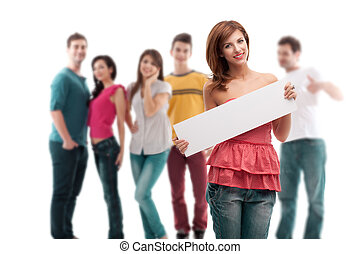 young woman with blank ad banner