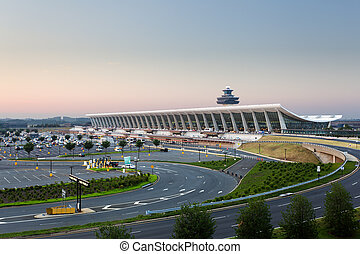 Dulles airport at dawn near Washington DC - Dulles Airport,...