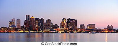 Boston downtown panorama at dusk - Boston downtown at dusk...