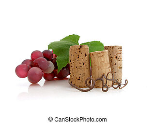 Three corks with grapes - Colorful cluster of grapes with 3...