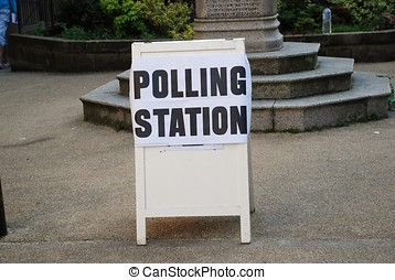 Polling station sign, England - A sign outside a polling...