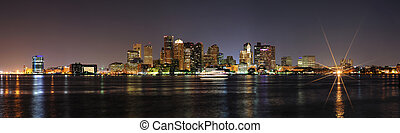Boston downtown panorama at night - Boston downtown with...