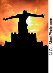 Sihouette of Jesus Christ Statue - A silhouette of a Jesus...