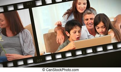 Montage of families at home