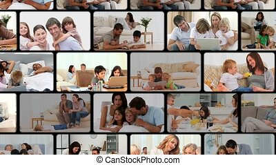 Montage of families enjoying moments at home