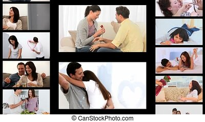 Montage of couples sharing romantic moments