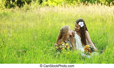 Two sisters on the meadow - Children outdoors