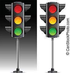 traffic lights with three colour on metallic leg vector...