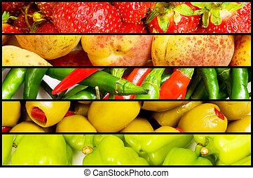 collage, många, grönsaken, frukter