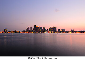 Boston downtown panorama at dusk