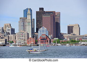 Boston architecture closeup - Boston downtown urban...