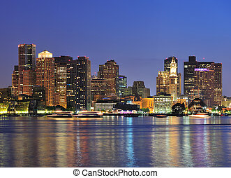 Boston downtown at dusk - Boston downtown skyline panorama...