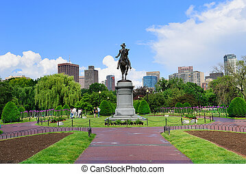 Boston - George Washington statue as the famous landmark in...