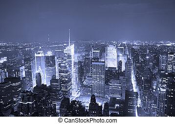 cidade, quadrado, aéreo, vezes, Skyline, York, Novo,...