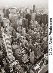 New York City Manhattan skyline aerial view black and white...