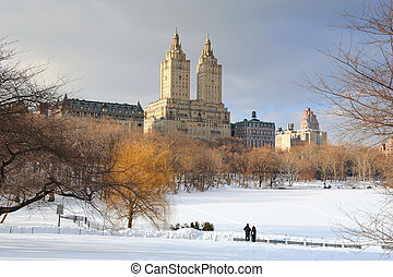 New York City Manhattan Central Park in winter with ice and...