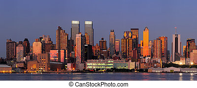 New York City Manhattan sunset panorama with historical...