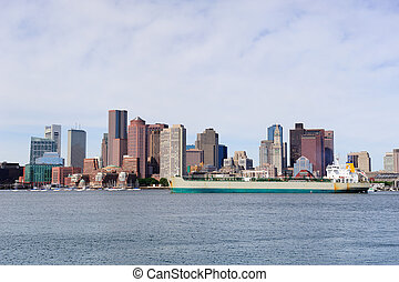 Boston downtown with ship