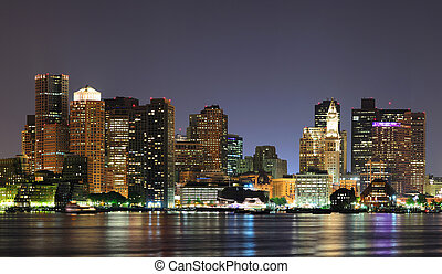 Boston, Massachusetts - Urban city night scene panorama from...