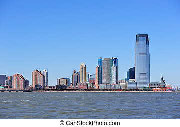 New Jersey Hoboken skyline with skyscrapers over Hudson...