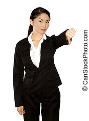 thumb down from business woman - asian business woman...