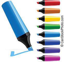 Realistic multi-colored markers Illustration on white...