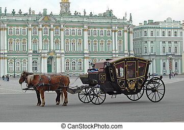 Carriage near the Hermitage in St Petersburg - Crew with...