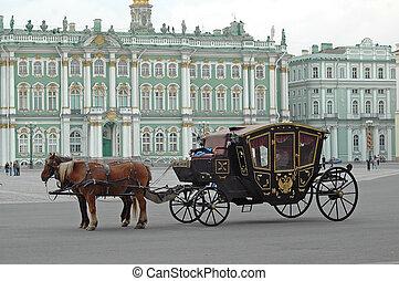 carruagem, eremitério, ST, Petersburg