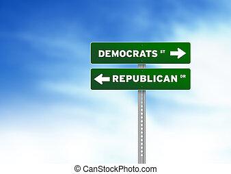 Democrats and Republican Road Sign