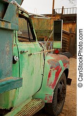Rusty Old Truck with patches of green and red