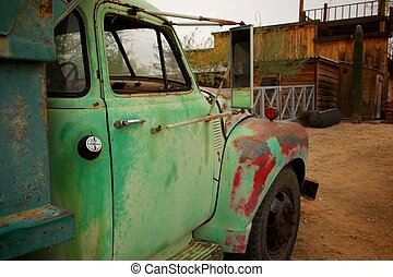 Rusty Old Truck with patches of green and red paint