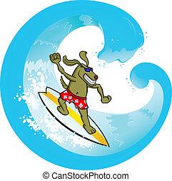 Surf Dog - Vector illustration of a dog surfing