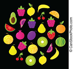 Fresh tasty stylized fruit circle isolated on black