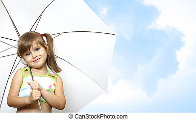 little girl child with umbrella