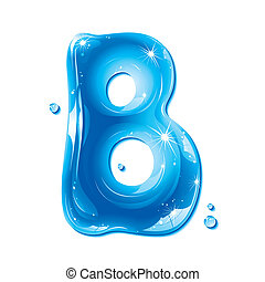 Water Liquid Letter - Capital B - Liquid Alphabet Gel Series...