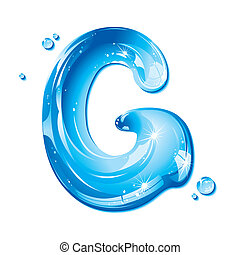 Water Liquid Letter - Capital G - Liquid Alphabet Gel Series...
