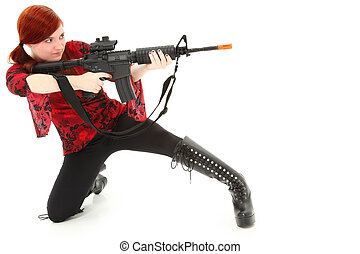 Pellet Air Rifle - Young woman aiming Pellet Air Rifle over...