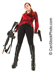 Pellet Air Rifle and Handgun - Attractive young woman teen...