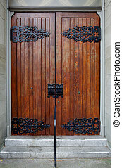 Wood Church Doors with ornate hinges - Stained wood church...