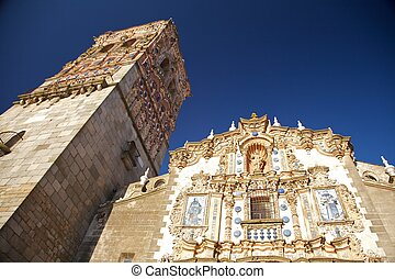 front and belfry of church - Jerez de los Caballeros city at...
