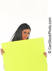 girl with blank notice board