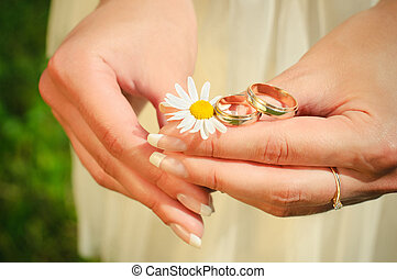 Wedding rings on hands of the bride on a camoline