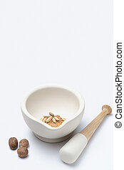 Pestle and Mortar with Spices