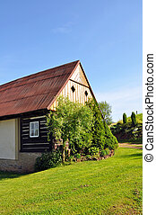 Log House - Beautiful historic log house during the sunny...